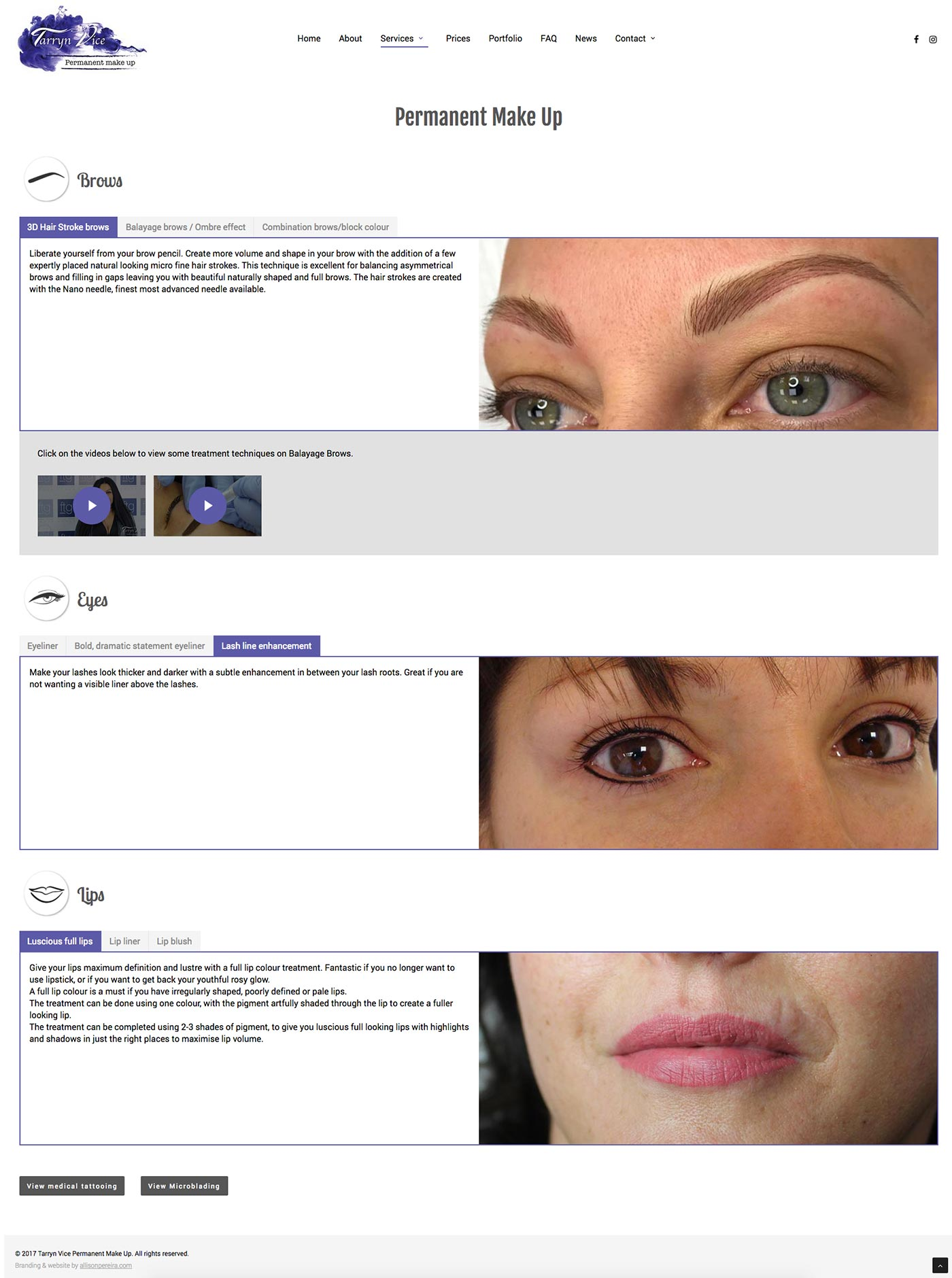 Tarryn Vice Permanent Make Up project work web page
