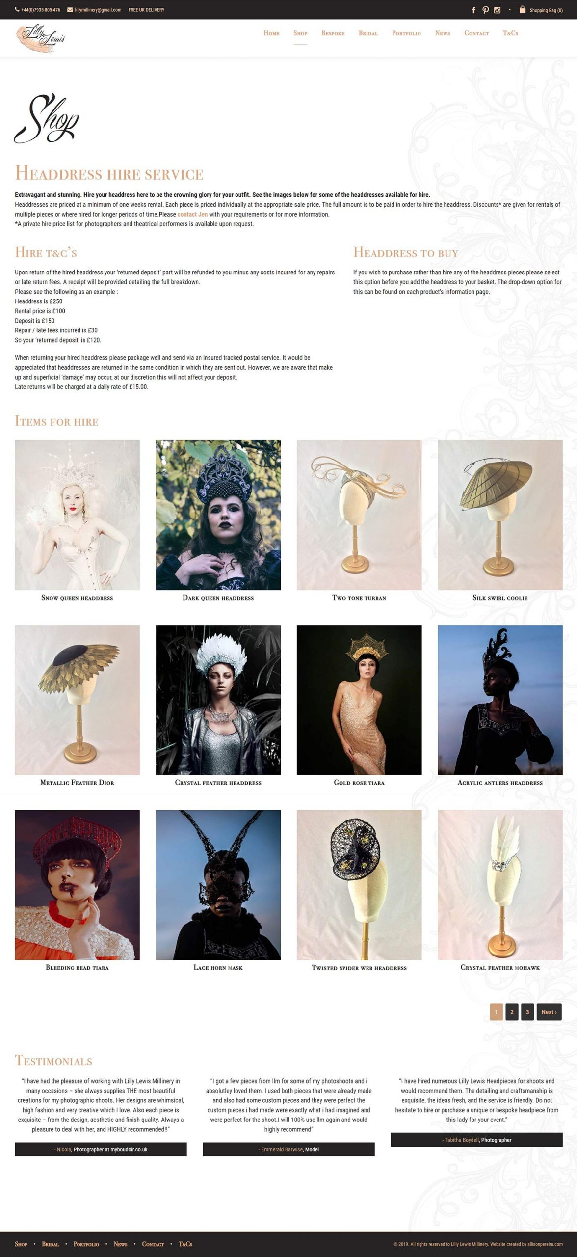 Lilly Lewis Millinery project work web page