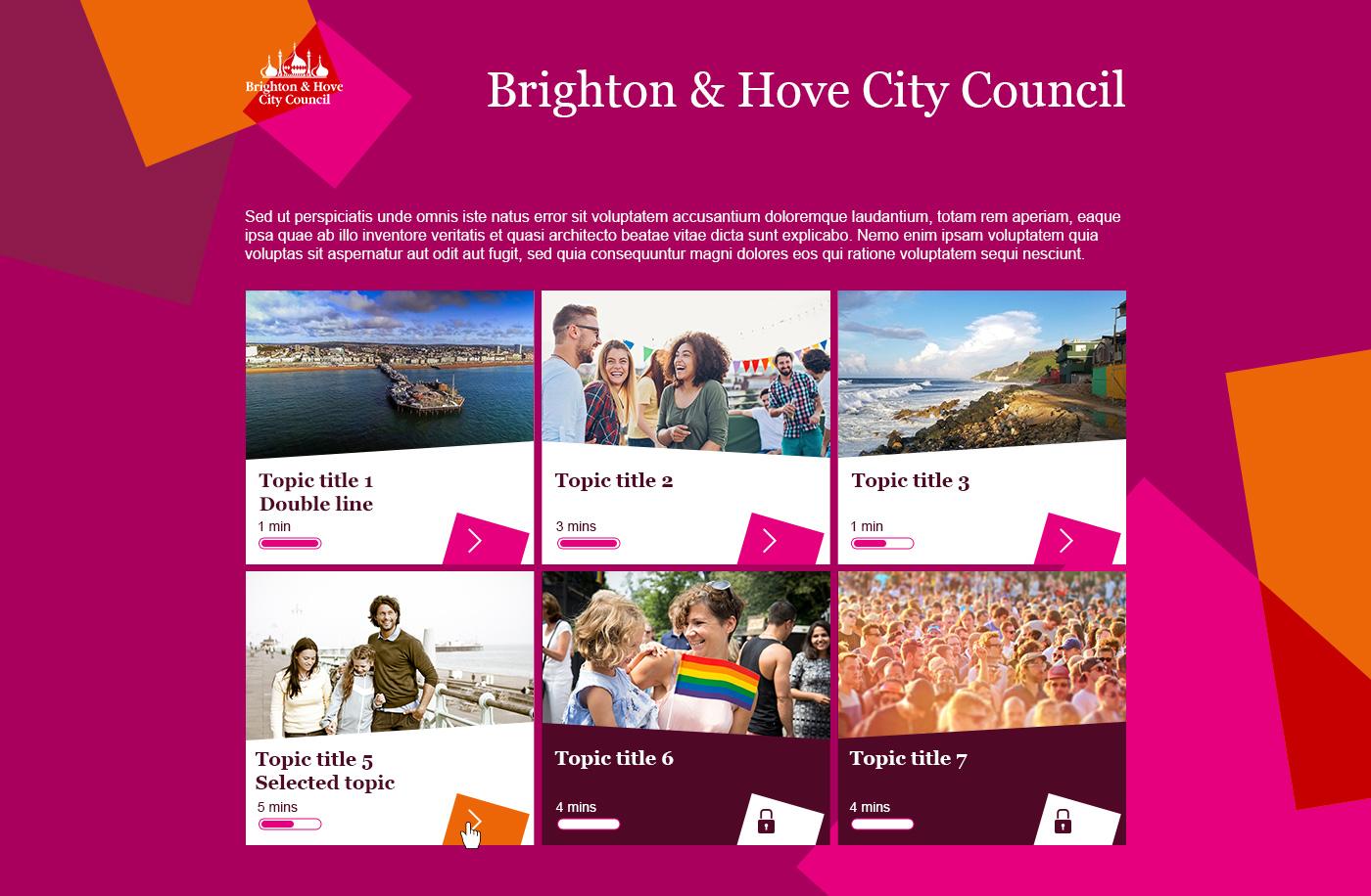 Brighton & Hove City Council elearning project menu