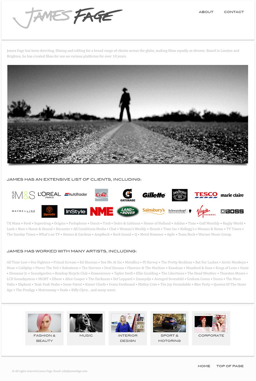 James Fage project work web page