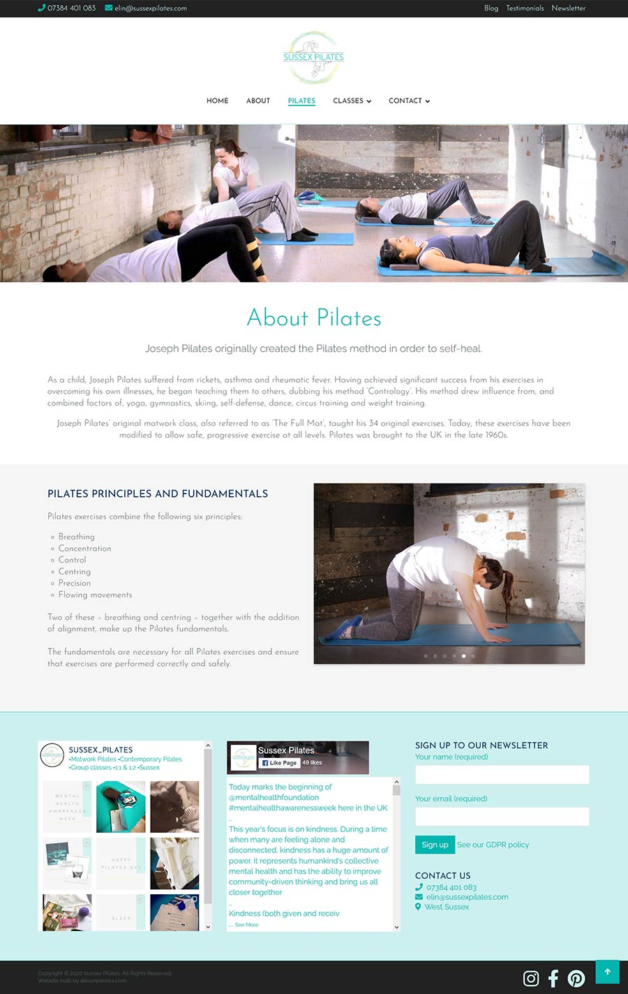 Sussex Pilates project work web page