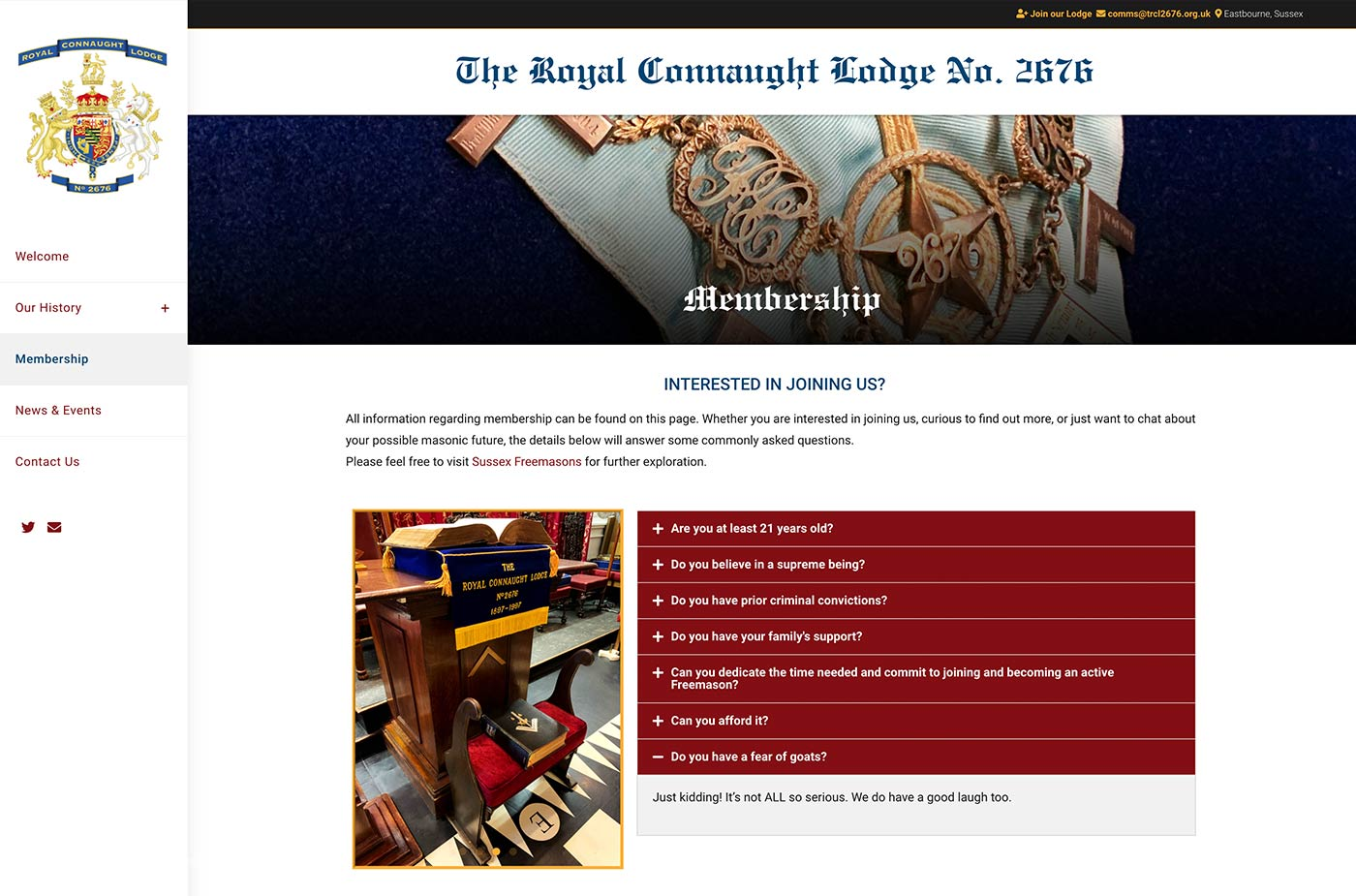 The Royal Connaught Lodge 2676 project work web page